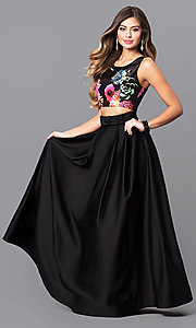 Image of two-piece long black prom dress with floral-print top. Style: MY-9227AB1S Front Image