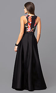 Image of two-piece long black prom dress with floral-print top. Style: MY-9227AB1S Back Image