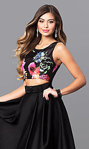 Image of two-piece long black prom dress with floral-print top. Style: MY-9227AB1S Detail Image 1