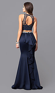 Image of navy blue two-piece long prom dress with lace top. Style: MY-9229YJ1S Back Image
