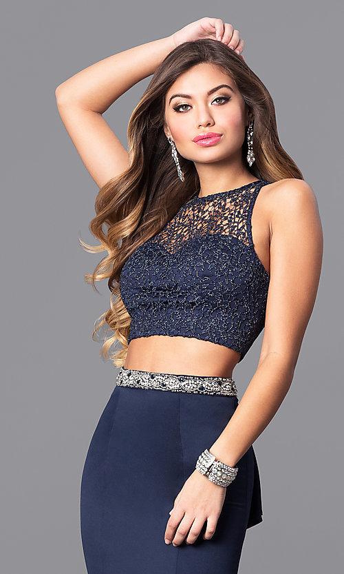 Image of navy blue two-piece long prom dress with lace top. Style: MY-9229YJ1S Detail Image 1