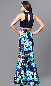 Image of two-piece navy blue prom dress with floral skirt. Style: MY-9262PZ1S Back Image