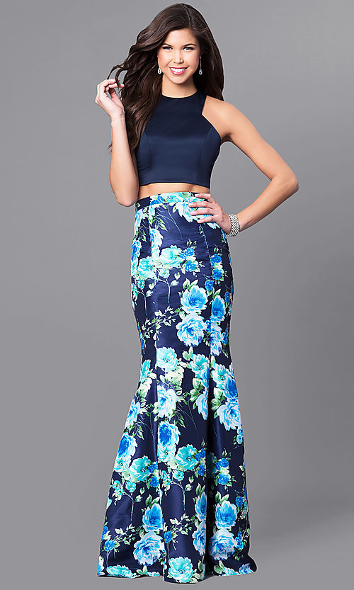 Image of two-piece navy blue prom dress with floral skirt. Style: MY-9262PZ1S Front Image