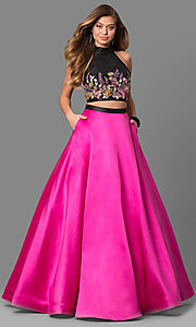 Black and Fuchsia Two-Piece Prom Dress with Pockets