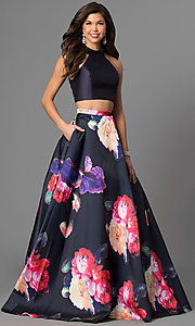 Floral Print Two-Piece Jovani Prom Dress