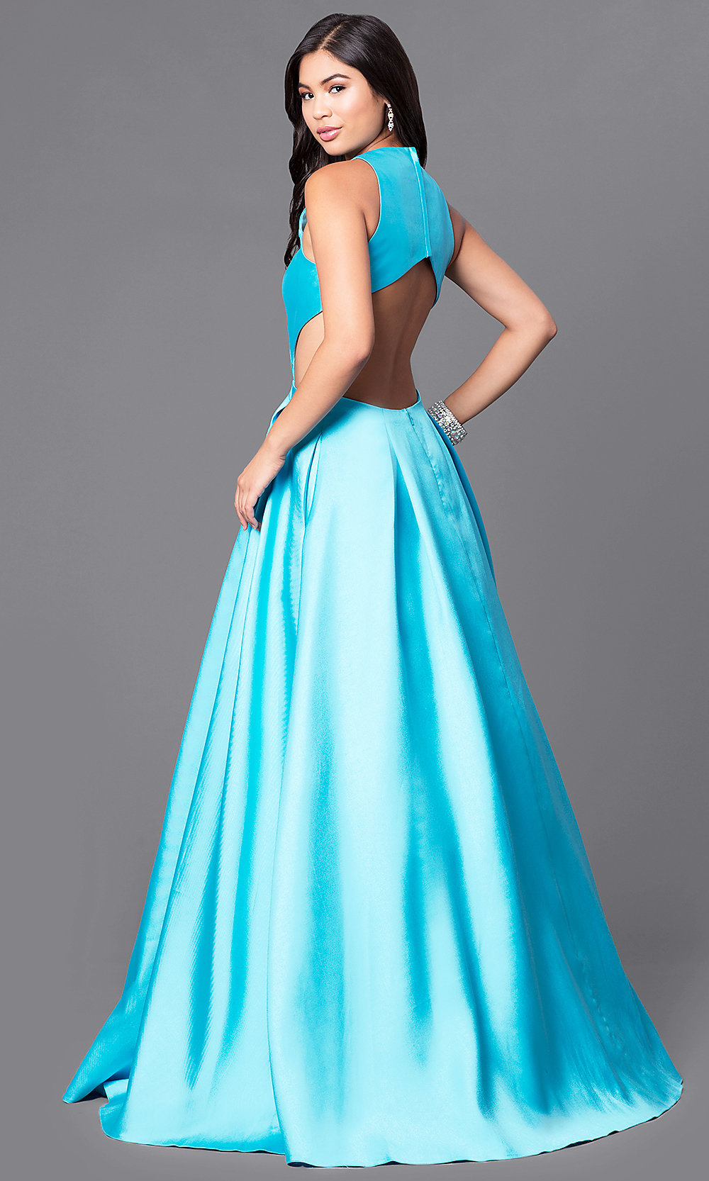 Long Blue Designer Prom Dress with Pockets -PromGirl