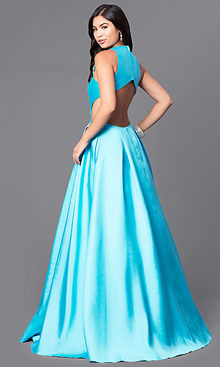 JVNX by Jovani Turquoise Long Prom Dress with Pockets