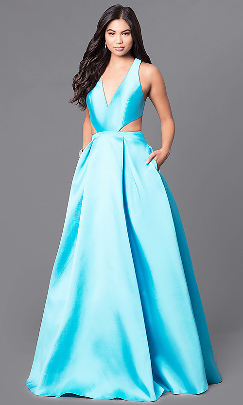 Image of JVNX by Jovani turquoise long prom dress with pockets. Style: JO-JVNX117 Back Image