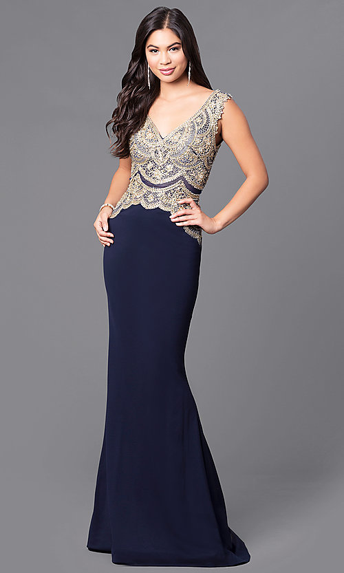 Image of long navy blue JVNX by Jovani dress. Style: JO-JVNX50109 Front Image