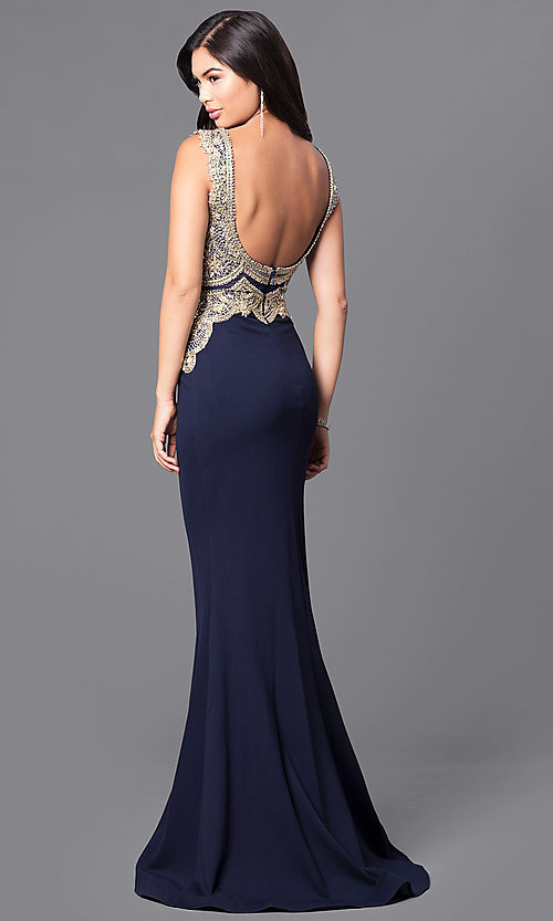 Image of long navy blue JVNX by Jovani dress. Style: JO-JVNX50109 Back Image