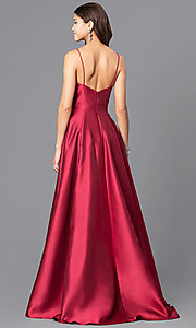 Image of long wine red JVN by Jovani prom dress. Style: JO-JVN-JVN51556 Back Image
