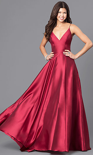 Long Wine Red JVN by Jovani Prom Dress - PromGirl