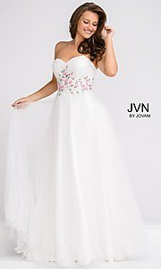 Long White A-Line Tulle Empire Waist Prom Dress