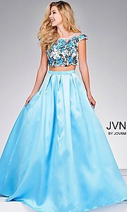 Blue Two Piece A-Line Cap Sleeve Prom Dress