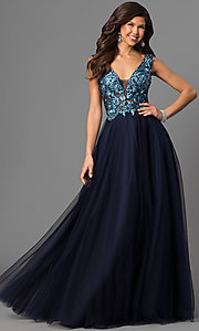 Sheer V-Neck Embroidered Navy Blue Prom Dress