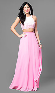 Two-Piece Pink and Ivory Prom Dress