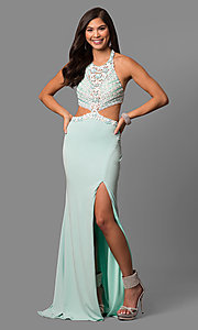Long Prom Dress with Beaded Bodice