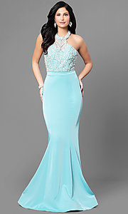 Long Jolene High Neck Halter Prom Dress