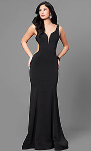 Black V-Neck Long Open Back Prom Dress