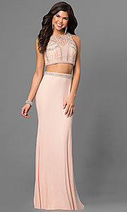 Open Back Long Two Piece Prom Dress by Jolene