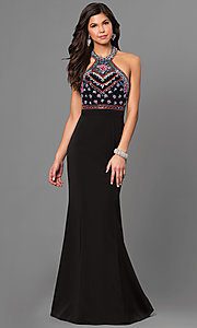Black Halter High Neck Jolene Prom Dress