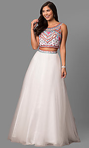 Long Open Back Two-Piece A-Line Prom Dress