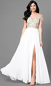 Long V-Neck Chiffon Cold Shoulder Prom Dress by Jolene