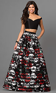 Two-Piece Floral Print Off-the-Shoulder Long Prom Dress