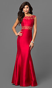 Long Red Prom Dress with Laser-Cut Details