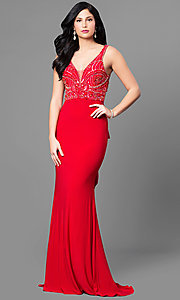 V-Neck Embellished Bodice Prom Dress with Ruffled Bustle