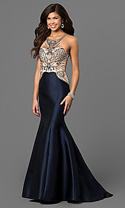 Navy Blue Open Back Mermaid Style Prom Dress