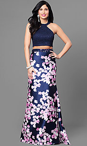 Two-Piece Floral Skirt Lace Top Prom Dress