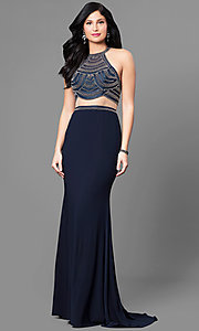 Blue Mock Two Piece Open Back Prom Dress