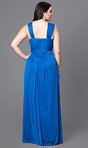 Image of long sleeveless plus prom dress with ruched bodice. Style: SI-11341P Back Image