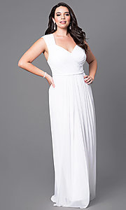 Image of long sleeveless plus prom dress with ruched bodice. Style: SI-11341P Front Image