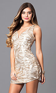 Ivory and Gold Short Sequin Party Dress