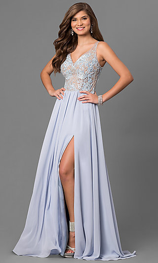 V-Neck Embroidered-Illusion-Bodice Long Prom Dress