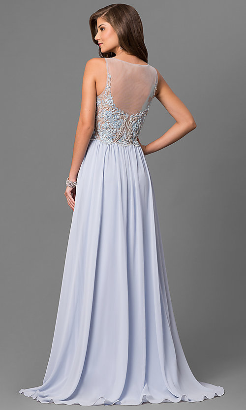 Image of v-neck embroidered-illusion-bodice long prom dress. Style: TI-1711P2373 Back Image