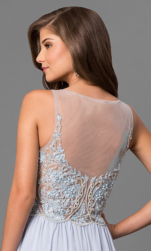 Image of v-neck embroidered-illusion-bodice long prom dress. Style: TI-1711P2373 Detail Image 2