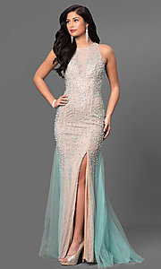 Long Beaded Lace High Neck Prom Dress