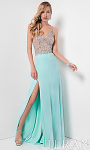 Illusion V-Neck Long Prom Dress by Terani