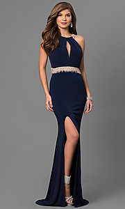 Long Keyhole Cut Out Open Back Prom Dress