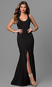 Long Scoop Neck Open Back Mermaid Dress
