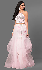 Pink Print Long Two Piece Prom Dress