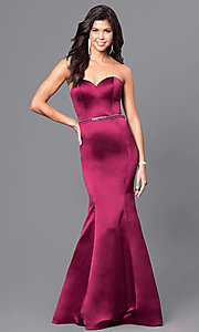 Wine Red Long Mermaid Prom Dress