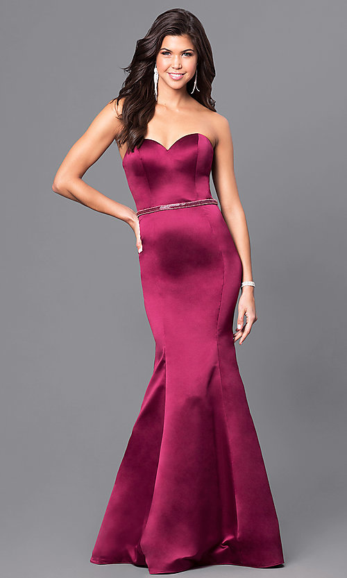 Image of wine red long designer Blush mermaid prom dress. Style: BL-PG037 Front Image
