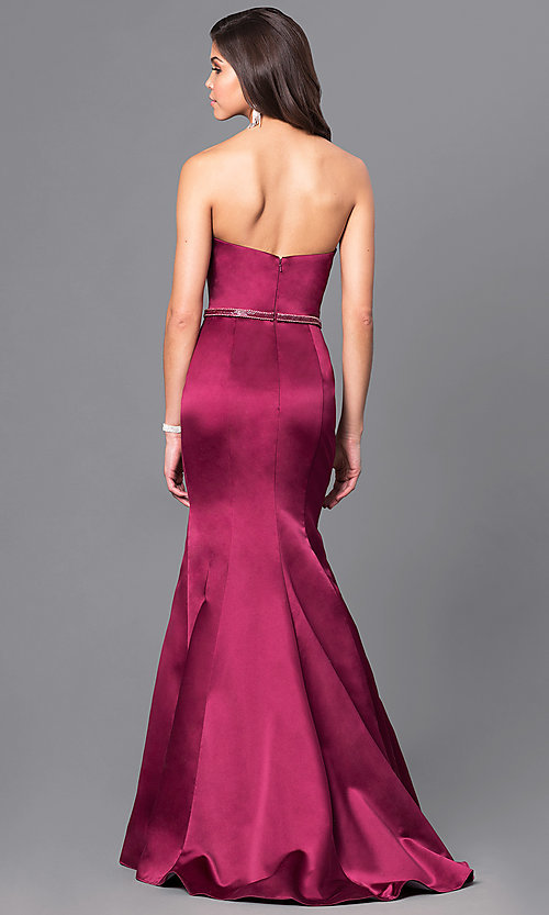Image of wine red long designer Blush mermaid prom dress. Style: BL-PG037 Back Image