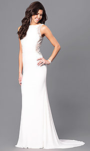 Image of ivory white long Blush prom dress with back cut out. Style: BL-PG057 Front Image