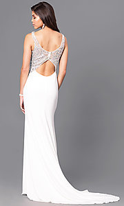 Image of ivory white long Blush prom dress with back cut out. Style: BL-PG057 Back Image