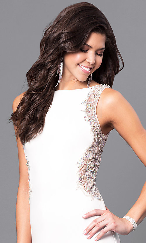 Image of ivory white long Blush prom dress with back cut out. Style: BL-PG057 Detail Image 1